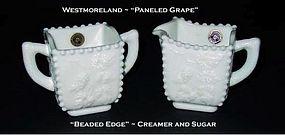 Westmoreland Paneled Grap Beaded Edge Creamer & Sugar