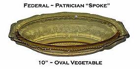 "Federal Patrician ""Spoke"" Amber 10"" Oval Bowl"