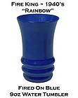Fire King Rainbow Fired On Blue Water Tumbler 1940