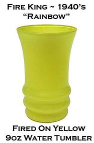 Fire King Rainbow Fired On Yellow Water Tumbler 1940