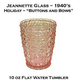 "Jeannette Glass Holiday ""Buttons and Bows"" Tumbler"
