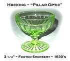 "Hocking ""Pillar Optic"" Green Footed Sherbert"