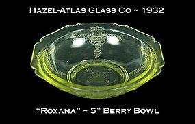 "Hazel-Atlas ~ ""Roxana"" Golden Topaz 5 inch Berry Bowl"