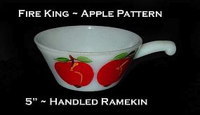 "Fire King ""Apple"" 5 inch Handled Ramekin"