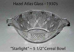 """Hazel Atlas """"Starlight"""" 2 Handled Cereal Bowl 1940"""
