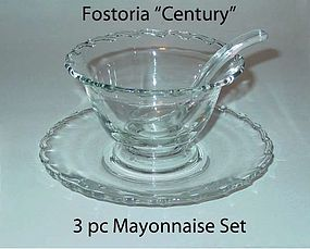 "Fostoria ""Century"" 3pc Mayonnaise Set W/Plate & Spoon"