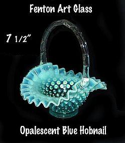 """Fenton Blue Opalescent Hobnail 7 1/2"""" Basket-1940-1955"""