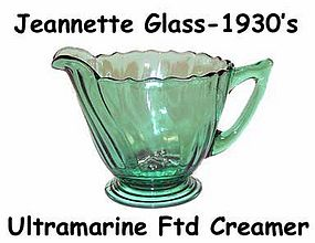 Jeannette Glass Ultramarine Swirl Footed Creamer-Nice!
