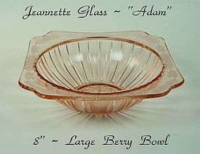 "Jeannette Glass ~ Pink Adam 8"" Large Berry Bowl"