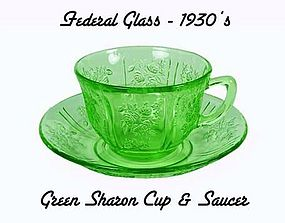 Green Sharon Cabbage Rose Cup and Saucer-Federal