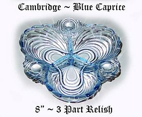 Cambridge Glass Blue Caprice 8 inch 3 Part Relish-Nice!