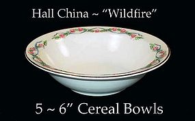 "Hall China Wildfire HTF - Five - 6"" Cereal Bowls"