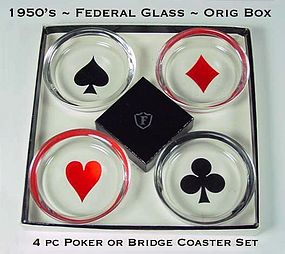 Federal Glass 4 pc Poker/Bridge Coaster Set ~ Org Box