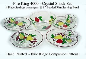 Fireking 4000 Snack Set HP Crystal Set ~ Blue Ridge 9pc