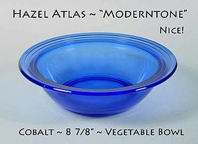 "Hazel Atlas Moderntone Cobalt 9"" Round Vegetable Bowl"