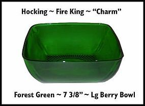 "Fire King Forest Green Charm 8"" Large Berry Bowl"
