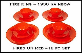 Fire King Rainbow Red 12pc Fired On Dinner Set ~ 1938
