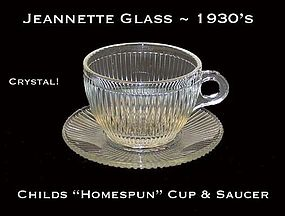 1930's Homespun Childs 4 Crystal Cups & Saucers