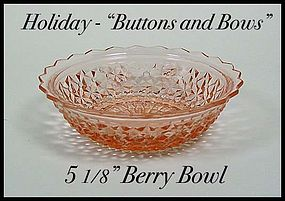 Holiday Buttons and Bows Pink Berry Bowl