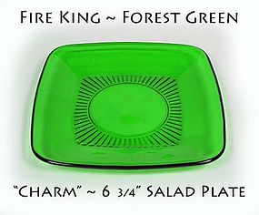 Fire King Forest Green 6 3/4 inch Salad Plate