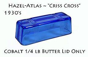 Hazel Atlas Criss Cross 1/4 lb Cobalt Butter Dish Lid
