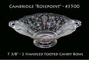 Cambridge Glass #3500 Rosepoint Ftd Handled Candy Dish