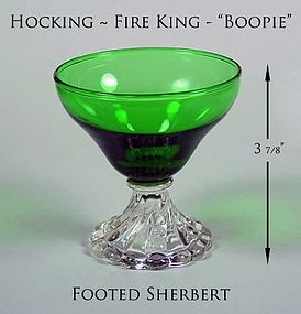 Hocking Fire King Green Boopie 3 7/8 inch Ftd Sherbert