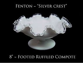 Fenton Art Glass Silver Crest Lg 8 inch Ruffled Comport