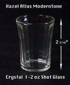 Hazel Atlas Moderntone HTF Crystal 1-2 oz Shot Glass