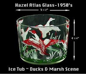 Hazel Atlas Unusual Marsh Scene Ice Tub Bucket