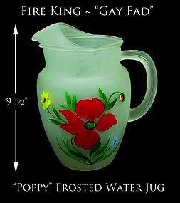 "Gay Fad Large ""Poppy"" Satin Finish Handled Pitcher-Exc!"