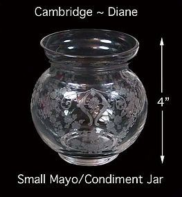 Cambridge 1930s Diane Elegant Mayo/Condiment Jar