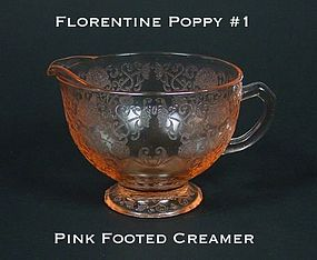 Federal Glass-FLorentine Poppy 1 Pink Creamer