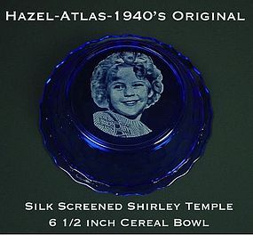 Hazel Atlas Cobalt 1940s Shirley Temple Cereal Bowl