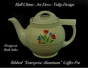 Hall China-Art Deco Design-Tulips Coffee Pot-Enterpris