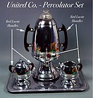 Vintage United Percolator 6pc Set W/Red Lucite Handles