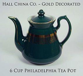 Hall China-Philadelphia-6 Cup Tea Pot With Gold Trim