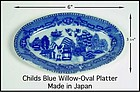Blue Willow 1950s Childs Oval Platter Larger Size-Japan