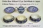Blue Willow 1950s Childs 12pc Cups Plates Sugar & Lid