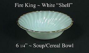 "Fire King White ""Shell"" 6 1/4"" Soup/Cereal-Gold Trim"