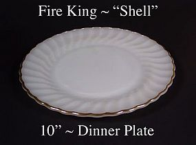 "Fire King White ""Shell"" 10 inch Dinner Plate-Gold Trim"