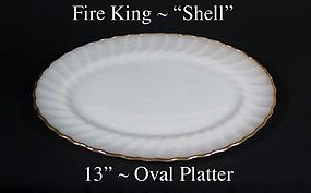"""Fire King White """"Shell"""" 13 inch Oval Platter-Gold Trim"""