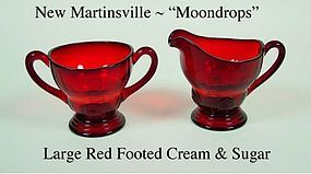 New Martinsville Moondrops Red Ftd Cream and Sugar