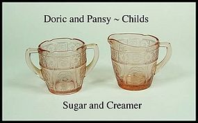 Jeannette~Doric and Pansy Pink Childs Creamer and Sugar