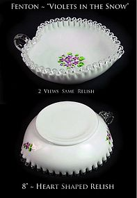 "Fenton Silver Crest ""Violets in the Snow""-Heart Relish"
