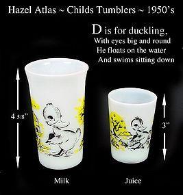 Hazel Atlas ~ D is for Duckling ~ Juice & Milk Tumblers