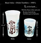 Hazel Atlas ~ L is for Lamb ~ Juice & Milk Tumblers