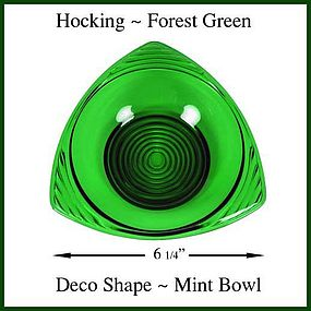 Hocking Forest Green Art Deco Tri-Angle Mint Bowl