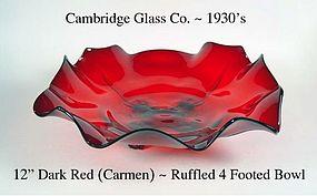 Cambridge Glass Ruffled Edge Console Bowl Carmen (Red)