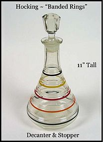 Hocking-Ring-Banded Rings Decanter & Orig Stopper